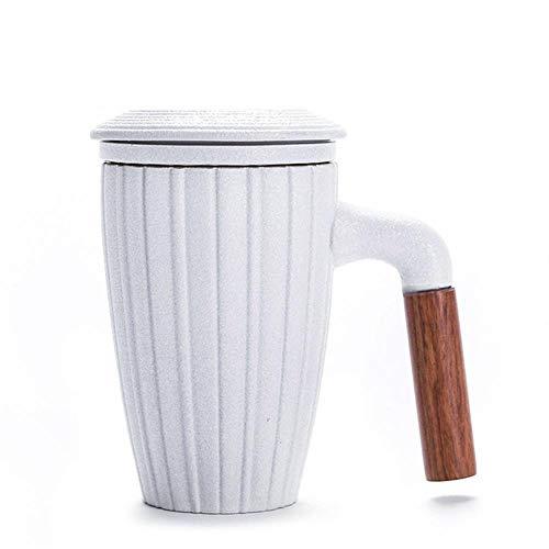 RHWZM Tazza Boccale Mug Tazzine Tazza da caffè da Ufficio in Ceramica Nera con Filtri E Coperchio Moda Manico in Legno Tazze da tè per Fiori Tazze da Acqua 300 Ml di Bicchieri, Stile B, 300 Ml