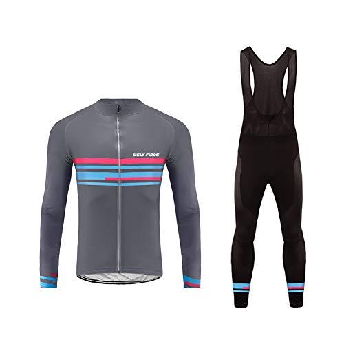 Uglyfrog Nuovo Maglia Ciclismo Boby Tuta Manica Lunga e Pantaloni con Bretelle Imbottiti Gel da MTB per Uomo CXMX08