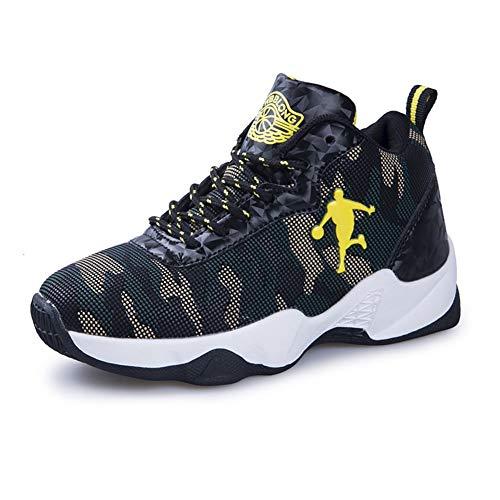 DAYATA Junge Sneakers Jungs Basketball Schuhe Kinder Sport Schuhe Grün - Tarnfarbe - Größe: 34 EU