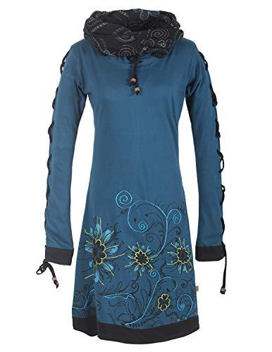 Vishes -Alternative Bekleidung - Bedrucktes Langarm Damen Blumen Kleid mit Schalkragen und Schnüren türkis 38