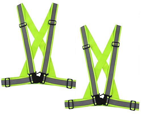Exporee 2 Piezas Ajustable Reflectante Cinturón para Correr Chaleco Reflectante Alta Visibilidad Chaleco de Seguridad para Exteriores Jogging Ciclismo Caminar para Niños y Adultos