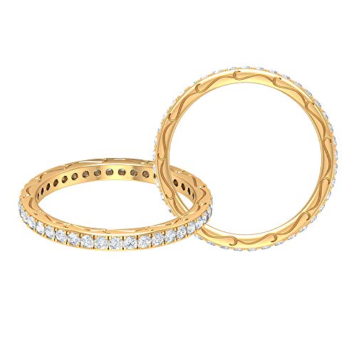 Anillo de boda antiguo, filigrana grabada, anillo de diamante redondo HI-SI de 0,62 ct, anillo de novia único, anillo de aniversario de las mujeres, 18K Oro amarillo, Size:EU 64