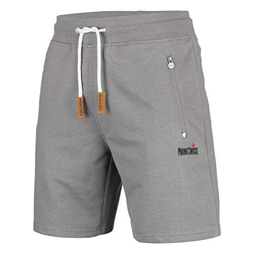 Mount Swiss Kurze Freizeithose Herren Liam I Kurze Sweatpants Herren mit Taschen - 2 Seiten- und 1 Gesäßtasche je mit Reißverschluß I Sport Shorts Herren in klassischen Farben-Steel.Gray-M