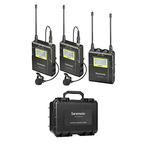 Saramonic UwMIC9 96-Channel Digital UHF Wireless Dual Lavalier Microphone System, Includes 2x TX9 Bodypack Transmitter and RX9 Portable Receiver - With Saramonic SR-C8 Large Hard Case, Black