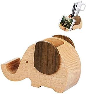 Floratek ペン 携帯 スタンド 卓上収納 小物入れ ペン立て 木製 ペンスタンド オフィス用品 おしゃれ かわいい 象 鉛筆立て 携帯電話ホルダー 卓上 多機能 入学祝い 事務用品