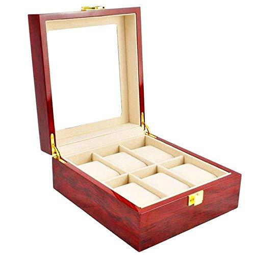 Suytan Cajas de Alenamiento de Relojes 6 Ranuras Gran Parte Superior de Vidrio Colección de Relojes Alenamiento Y Exhibición Caja de Reloj Caja de Exhibición de Relojes de Madera Organizador de Alena