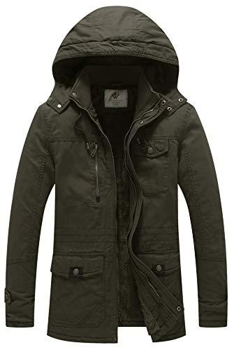 WenVen Men's Winter Warm Thickened Cotton Parka Jacket Army Green XL