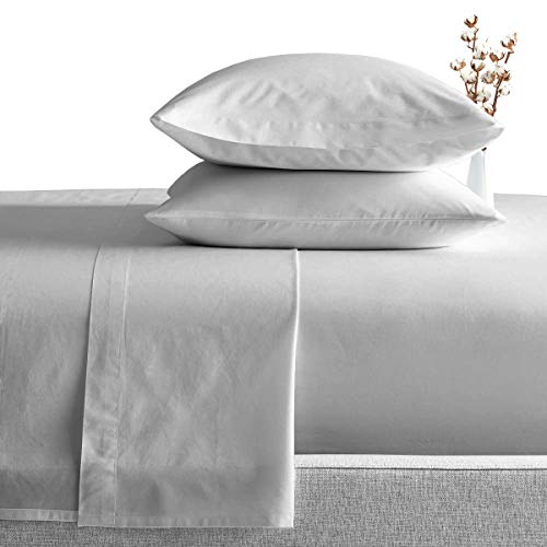 SGIbedding Juego de sábanas de algodón egipcio para cama King (sábana bajera, sábana encimera, funda de almohada), 600 hilos, color gris claro, sólido 38 cm de profundidad, colección Exotic Europe
