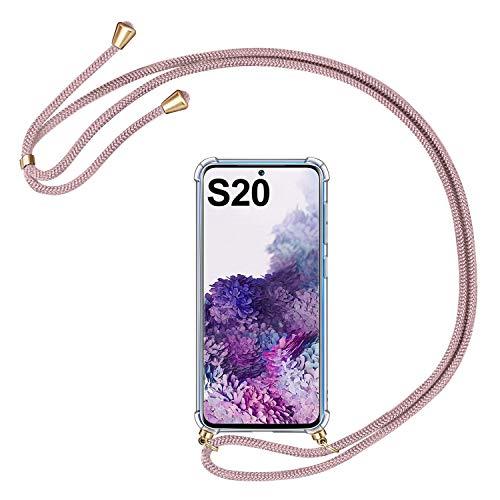 AROYI Handykette Handyhülle für Samsung Galaxy S20 5G Hülle mit Kordel zum Umhängen Necklace Hülle mit Band Schutzhülle Transparent Silikon Acryl Case für Samsung Galaxy S20 5G