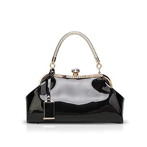 NICOLE & DORIS Handtaschen für Damen Lackleder Handtaschen Abendtasche für Party Hochzeit schultertasche Schwarz