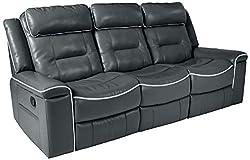 "in budget affordable Homelegance Darwan 88 ""Gel leather sofa, double backrest, dark gray"