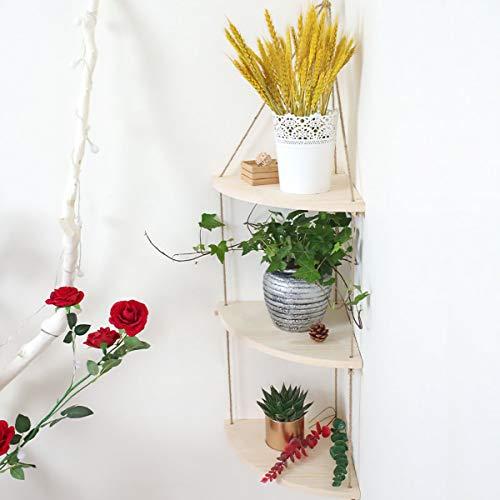 GKanMore Hanging Corner Shelf 3 Tier Wall Floating Shelves Jute Rope Wooden Organizer Displays Storage Rack Floating Corner Shelf for Home Lving Room Bedroom Bathroom Kitchen Decor (Wood Color)