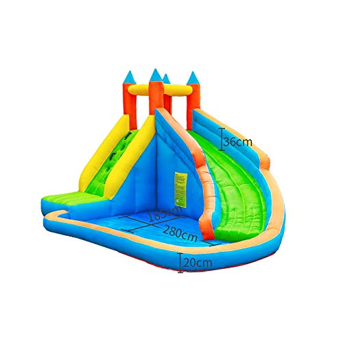 SUPRIEE-TOY Inflatable Bouncy Castle Inflatable Bouncy Bounce House Slide Inflatable Water Spray Rock Climbing Inflatable Castle Home Indoor Outdoor for Kids with Water Slide, Climbing Wall and Pool