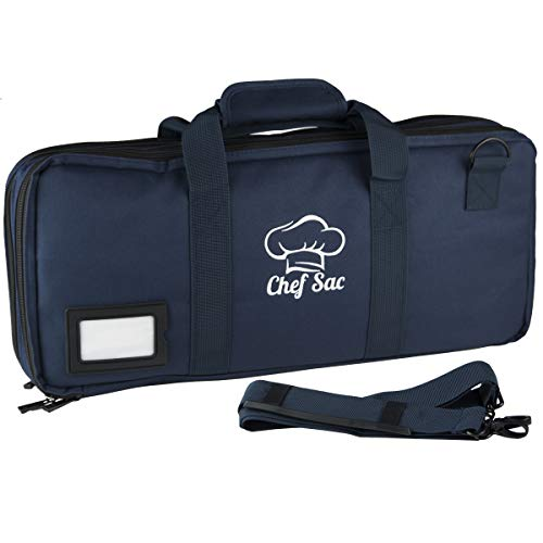 Chef Knife Case Bag | 3 Compartments & 20 Slots for Knives & Kitchen Tools | 10 Zip Pockets for Tablet, Notebooks & Utensils | Executive Chefs & Culinary Students Gift (Dark Blue)