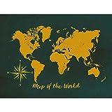 Lazodaer Kit de pintura de diamante para adultos 5D DIY completo redondo taladro pintura Sets arte arte para decoración del hogar Mapa del mundo dorado 39.7 x 30.0 cm