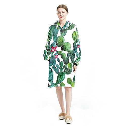 Sudadera de manga larga con capucha para mujer, con bolsillos tropicales, color verde palma, hojas exóticas, Color3., talla única