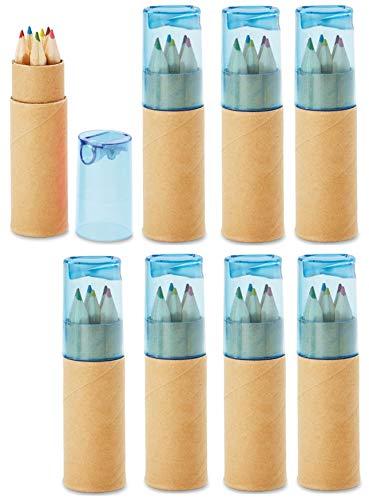 Libetui Buntstifte Sets mit Spitzer für Kinderparty Geburtstag Hochzeit Restaurant als Mitgebsel Kindergeschenk Gastgeschenke - 6 fröhliche Farben (Blau 8)