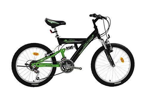 T&Y Trade 20 Zoll Kinder Jungen Mädchen Fahrrad Kinderfahrrad MTB Mountainbike Fahrrad Rad Bike 10 Gang Beleuchtung Fully VOLLFEDERUNG KDS 2600 Schwarz Grün