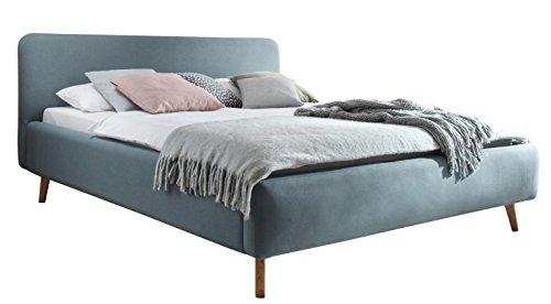 sette notti 1455-10-5000 Polsterbett Landhausstil Webstoff, 180x200 cm, Eisblau