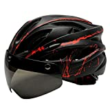 Perfeclan 取り外し可能なMaeticゴーグルバイザー付きの調整可能な大人用ヘルメットマウンテンロードバイクライディングヘッドプロテアクラッシュハット - 黒赤