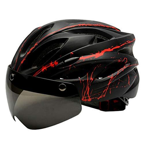 harayaa Casco de Adulto Ajustable para Bicicleta de montaña de Carretera Protector de Cabeza con Visera magnética extraíble - Negro Rojo
