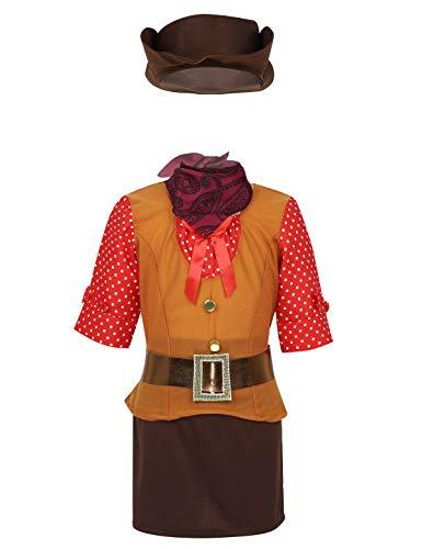 CHICTRY 5pcs Mädchen Cowgirl Kostüm Cosplay Outfits Wilder Westen Kinderkostüm Halbarm Shirt + Minirock + Hut + Bandana + Gürtel Fasching Verkleidung Braun 104-110