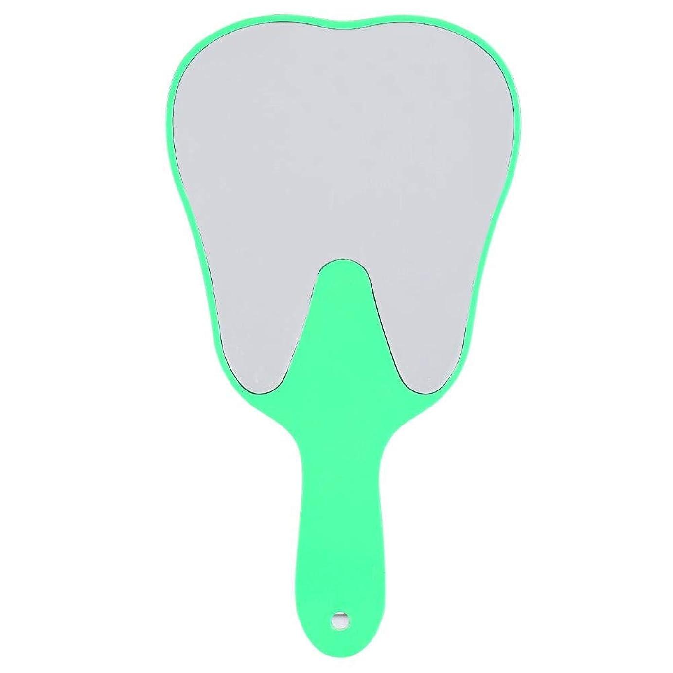 哲学的安息補足手鏡 おしゃれ 便利 歯柄 プラスチック製 コンパクト 持ち運ぶ便利 拡大機能(グリーン)