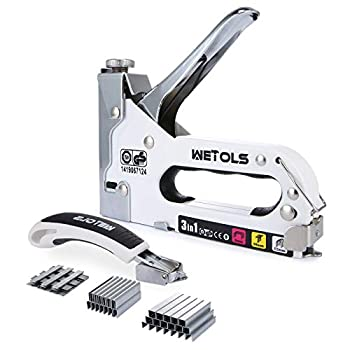WETOLS Staple Gun with Remover Heavy Duty Staple Gun 3 in 1 Manual Nail Gun with 3000 Staples D U and T-Type  for Upholstery Material Repair Carpentry Decoration Furniture DIY WE-809