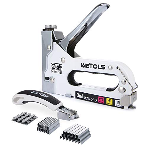 Product Image of the WETOLS Staple Gun with Remover, Heavy Duty Staple Gun, 3 in 1 Manual Nail Gun with 3000 Staples(D, U and T-Type), for Upholstery, Material Repair, Carpentry, Decoration, Furniture, DIY WE-809
