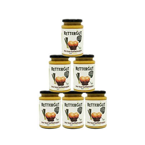 RETTERGUT 6-er Set Retterbox bio suppen Kartoffel (6x375ml) I Suppen im Glas mit gerettetem Gemüse I natürliche Zutaten I vegan I Bio-Qualität