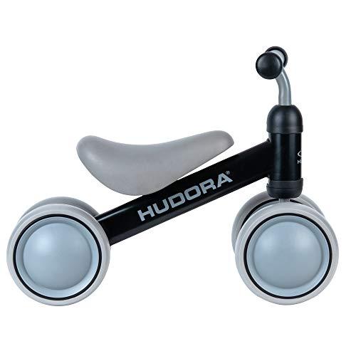 HUDORA Bicicleta sin Pedales Mini, Color Negro, a Partir de 1 año, 4 Ruedas