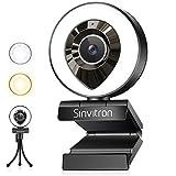 webカメラ Sinvitron LEDライト暖色&白色 三脚スタンド付き HD1080P マイク内蔵 200万画素 高画質 美顔機能 軽量 USBプラグアンドプレイ ウェブ カメラ Zoomビデオ会議/ネット授業/動画配信など