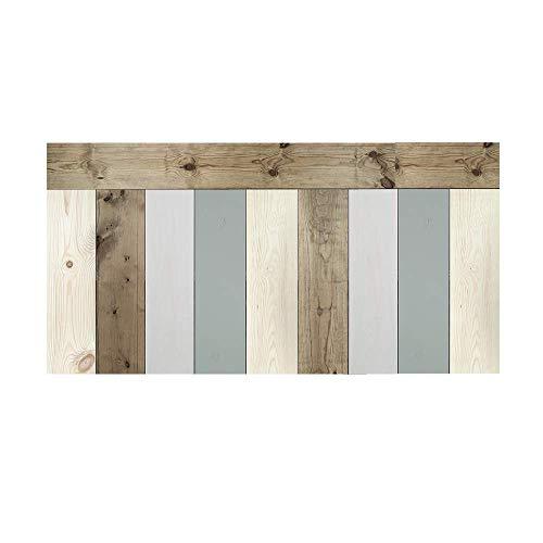 Decowood - Cabecero para Cama Dormitorio, Crooked Forest con Lamas Combinadas, Madera de Pino, Verde Azulado, Natural y Envejecido - 180 x 80 cm