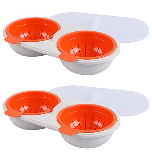2 piezas escalfador de huevos para microondas, escalfador de huevos doble, con tapa, para huevos cocidos de desayuno, color naranja