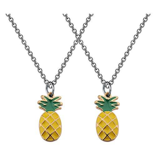 Amosfun 2 Piezas Collares Colgantes de Piña Collares de Frutas Tropicales Joyería para Fiesta de Luna Tropical Favorece Regalos del Día de San Valentín