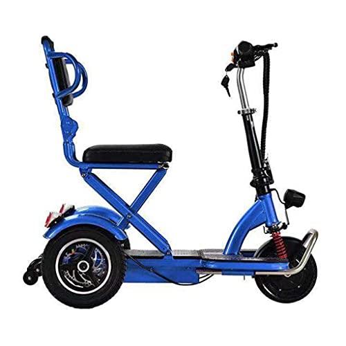 Scooter eléctrico Plegable de 3 Ruedas, Triciclo de Movilidad, Scooter de Viaje eléctrico portátil y Ligero (Color: Negro)