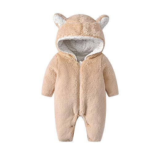 WYTbaby Bebé Mameluco Niñas Niños Trajes de Nieve Invierno Monos con Capucha Espesar Peleles Overoles Calentito Enterizo, 6-9 Meses