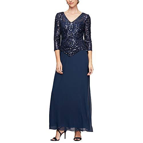 Alex Evenings Women's Long Lace Mock Dress (Petite and Regular Sizes), Bright Navy Sequin, 6