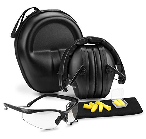 PROHEAR ST100 Shooting Ear & Eye Protection Kit, NRR 26dB Hearing Protectors, Anti-Scratch Clear Safety Glasses, Soft Foam Ear Plugs with 33dB Highest NRR, Protective Case, Perfect for Gun Range, Hunting, Construction