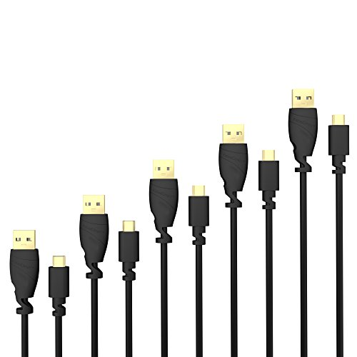 KabelDirekt 5X 1m Micro USB Cable (USB 2.0, Synch & Charge Cable, Black) TOP Series