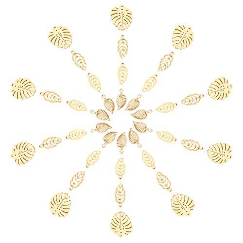UNICRAFTALE 40個 4種 葉形 チャーム 304ステンレス製 チャーム 透かしパーツ 植物シリーズ 葉っぱ柄 リーフ柄 樹柄 木の葉 ツリー柄 可愛い ゴールデン メタルチャーム ネックレスパーツ ジュエリー作り ネックレスブレスレットイヤリン