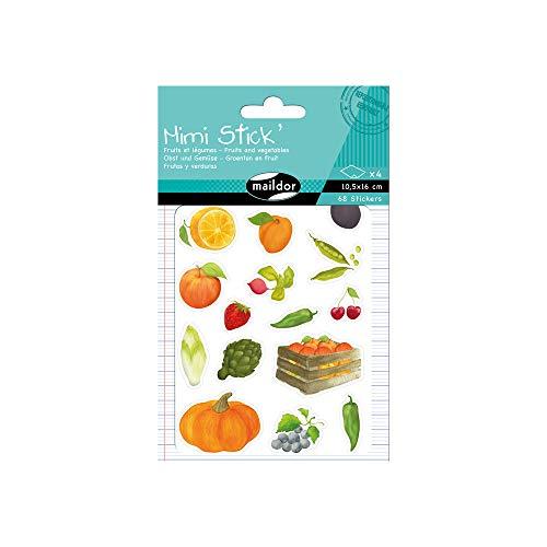 Maildor AE023O - Un sachet de gommettes Mimi Stick' comprenant 4 planches 10,5x16cm, motifs Fruits et légumes