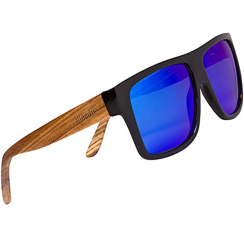WOODIES Polarized Zebra Wood Aviator Wrap Sunglasses for Men and Women   Blue Polarized Lenses and Real Wooden Frame   100% UVA/UVB Ray Protection
