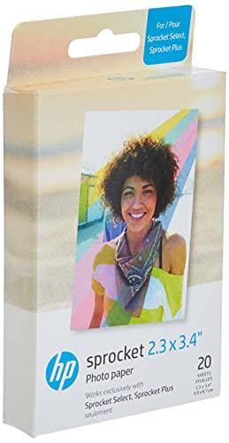 HP 2FR23A - Papel fotográfico Zink (20 hojas) compatible con Sprocket Select y Plus.
