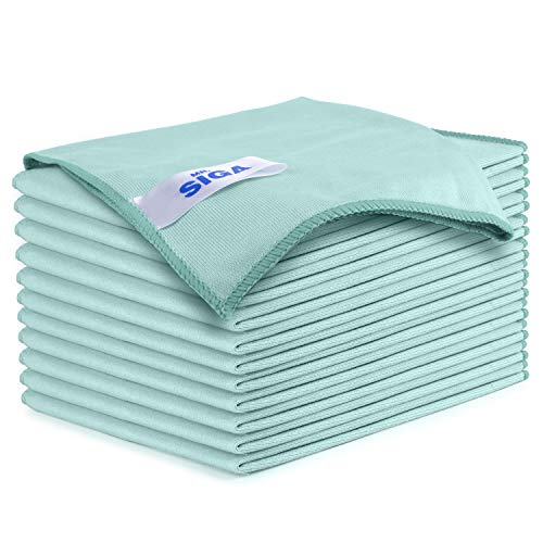 "MR.SIGA Ultra Fine Microfiber Cloths for Glass, Pack of 12, 35 x 40cm 8"" x 10"""