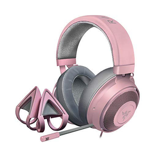 Razer Kraken Gaming Headset + Kitty Ears Bundle: Lightweight Aluminum Frame - Retractable Noise Cancelling Mic - for PC, PS4, Nintendo Switch - Quartz Pink