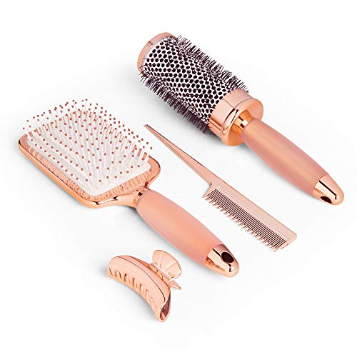 Beautify Lot de Brosses à Cheveux - Or Rose – 3 Unités – Brosse à Picots – Brosse Ronde – Brushing – Pince - Volume – Démêlage – Mouillé Sec – Coiffure
