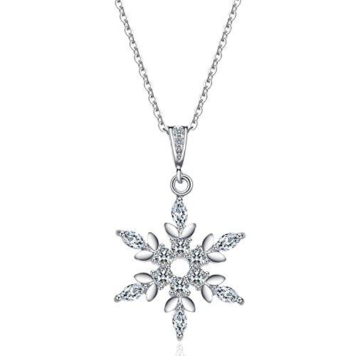 J.Vénus Damen Schmuck, Halskette Silber mit Schneeflocke Anhänger 925 Sterling Silber Zirkonia 45cm / Kette, Schmuck mit Etui (ewige Liebe - weiß)
