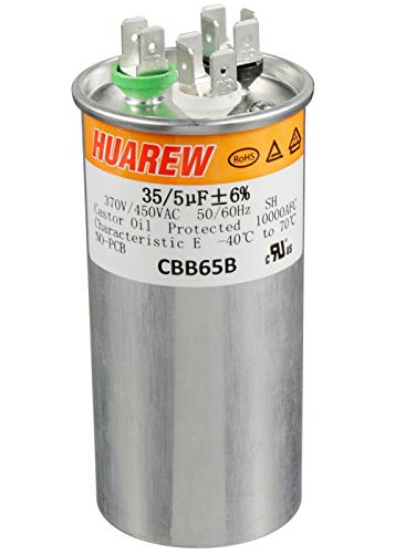 HUAREW 35+5 uF ±6% 35/5 MFD 370/450 VAC CBB65 Dual Run Start Round Capacitor for Condenser Straight Cool or Heat Pump Air Conditioner or AC Motor and Fan Starting
