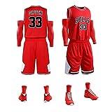 LDFN Basketballtrikot Sommer Herren-Basketball-Trikot, Scottie Pippen No. 33, Atmungsaktiv Und Schnelltrocknend Polyester-Gewebe Gestickt Sport-T-Shirt S-XXL (Color : Red, Size : XS)